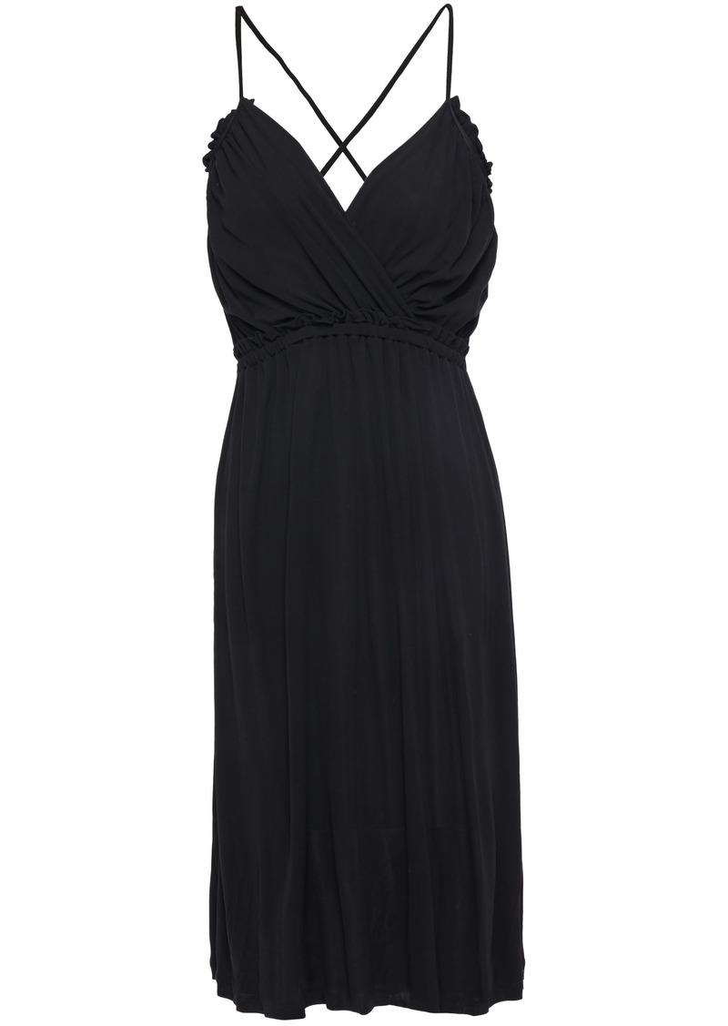 Vanessa Bruno Woman Leonie Wrap-effect Gathered Jersey Dress Black