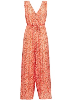Vanessa Bruno Woman Levana Cropped Floral-print Jacquard Jumpsuit Coral