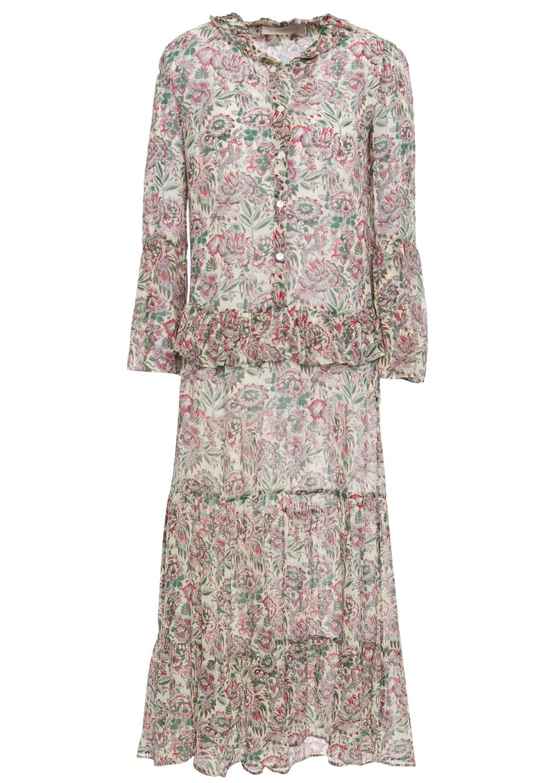 Vanessa Bruno Woman Lilas Ruffle-trimmed Floral-print Georgette Midi Dress Ivory