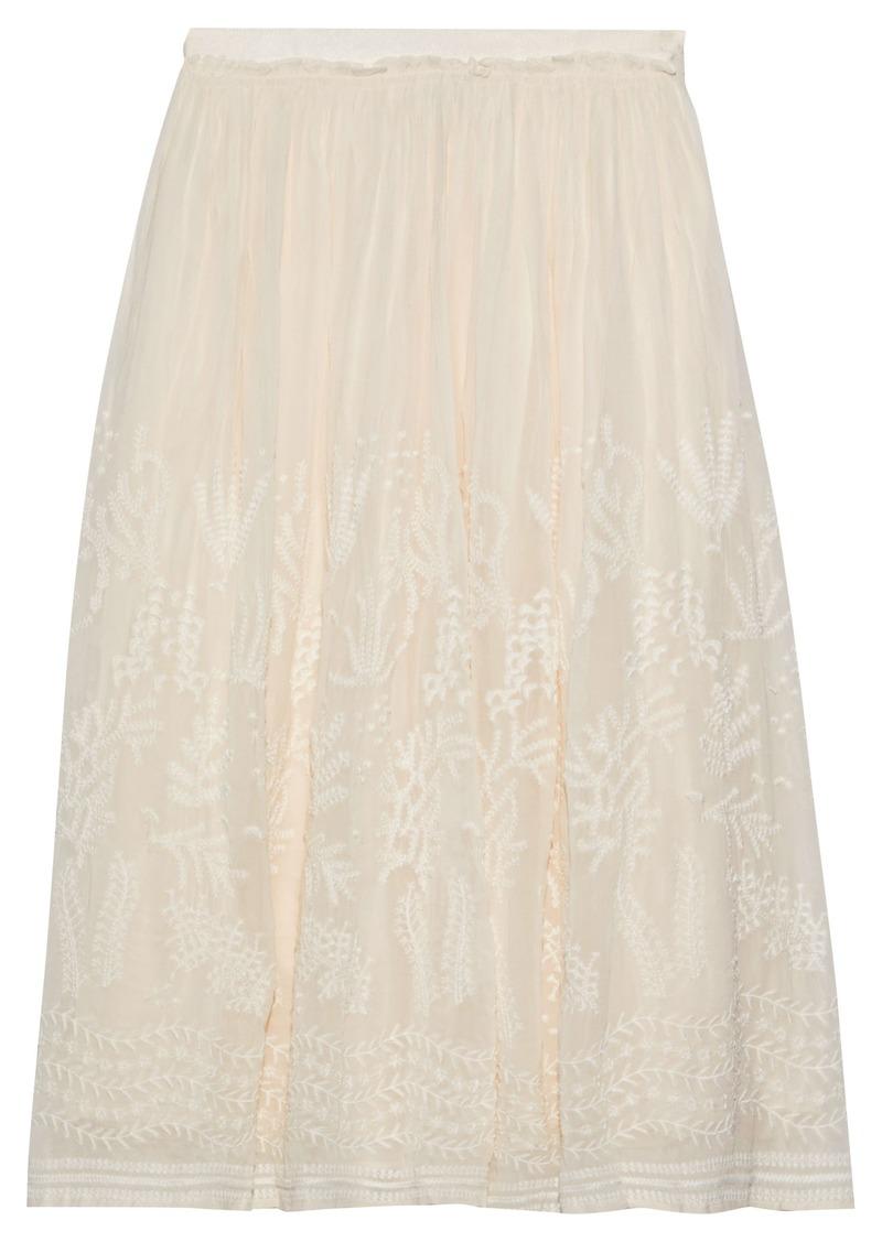 Vanessa Bruno Woman Lise Embroidered Chiffon Midi Skirt Ecru