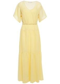 Vanessa Bruno Woman Lizon Tiered Pinstriped Cotton Maxi Dress Pastel Yellow