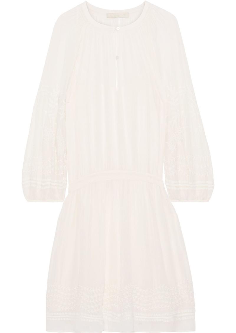 Vanessa Bruno Woman Lola Gathered Embroidered Chiffon Mini Dress Off-white