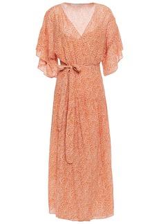 Vanessa Bruno Woman Lolita Ruffle-trimmed Printed Seersucker Midi Wrap Dress Pastel Orange