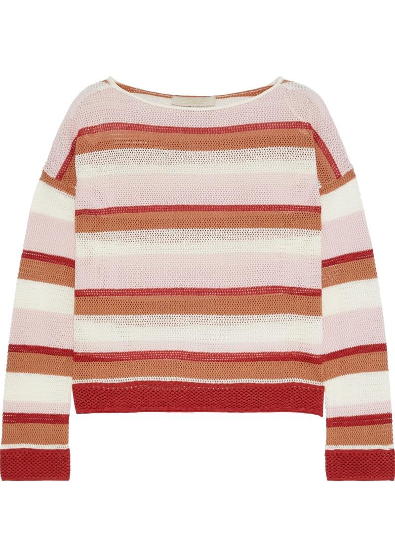 Vanessa Bruno Woman Lorelei Striped Open-knit Cotton-blend Sweater Multicolor