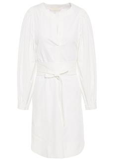 Vanessa Bruno Woman Louri Belted Herringbone Cotton Mini Dress White