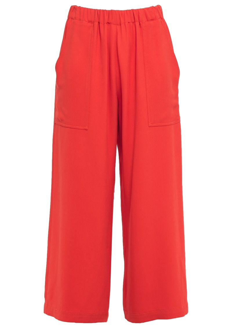 Vanessa Bruno Woman Lyor Cropped Gathered Crepe Wide-leg Pants Coral