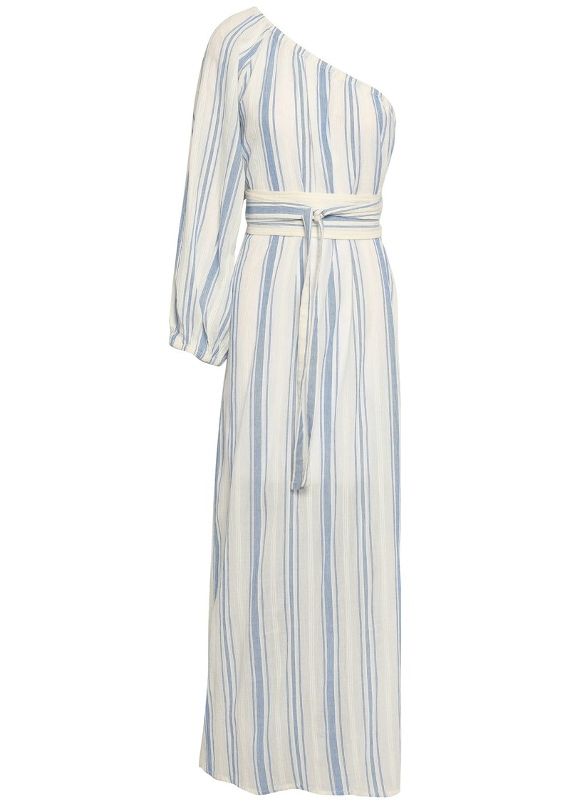 Vanessa Bruno Woman One-shoulder Striped Cotton-gauze Maxi Dress White