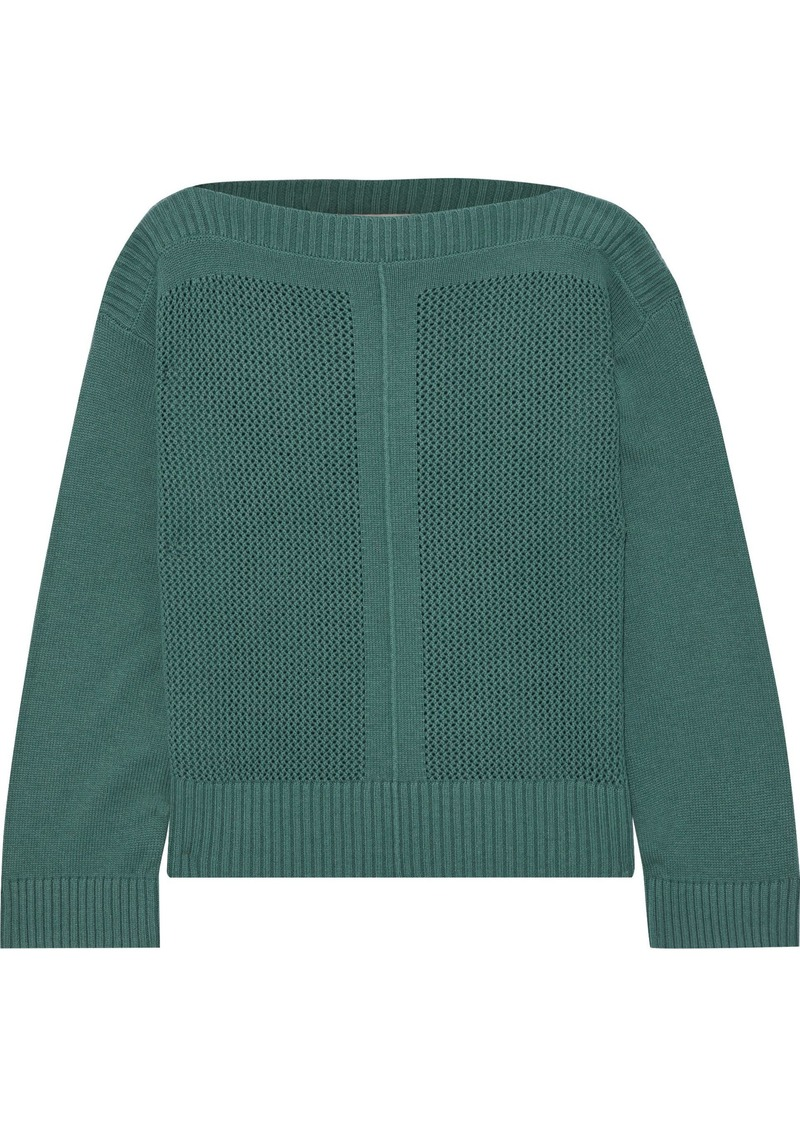 Vanessa Bruno Woman Open-knit Wool And Cashmere-blend Sweater Teal