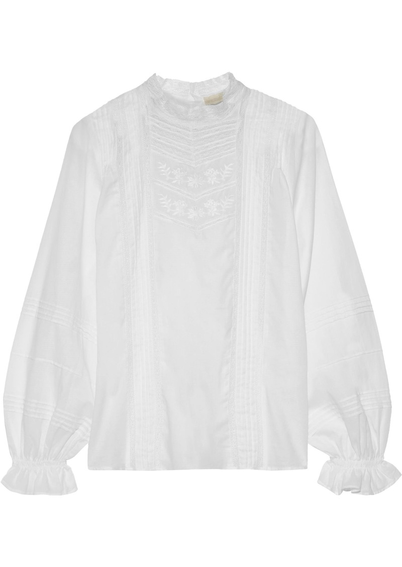 Vanessa Bruno Woman Pintucked Embroidered Cotton Shirt White