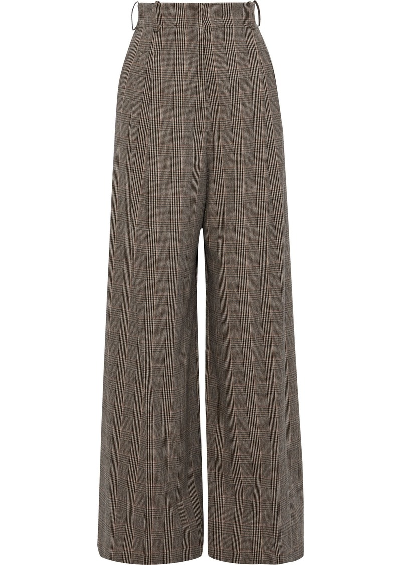 Vanessa Bruno Woman Pleated Prince Of Wales Checked Woven Wide-leg Pants Light Brown
