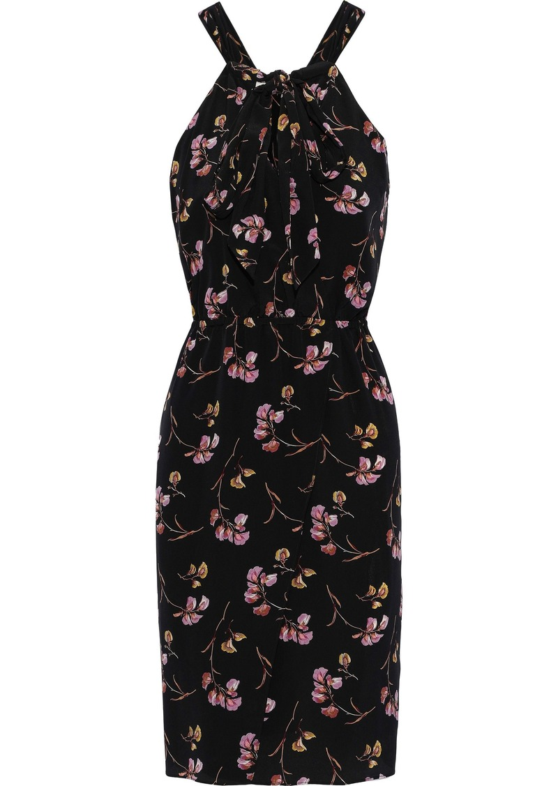 Vanessa Bruno Woman Pussy-bow Floral-print Silk Dress Black