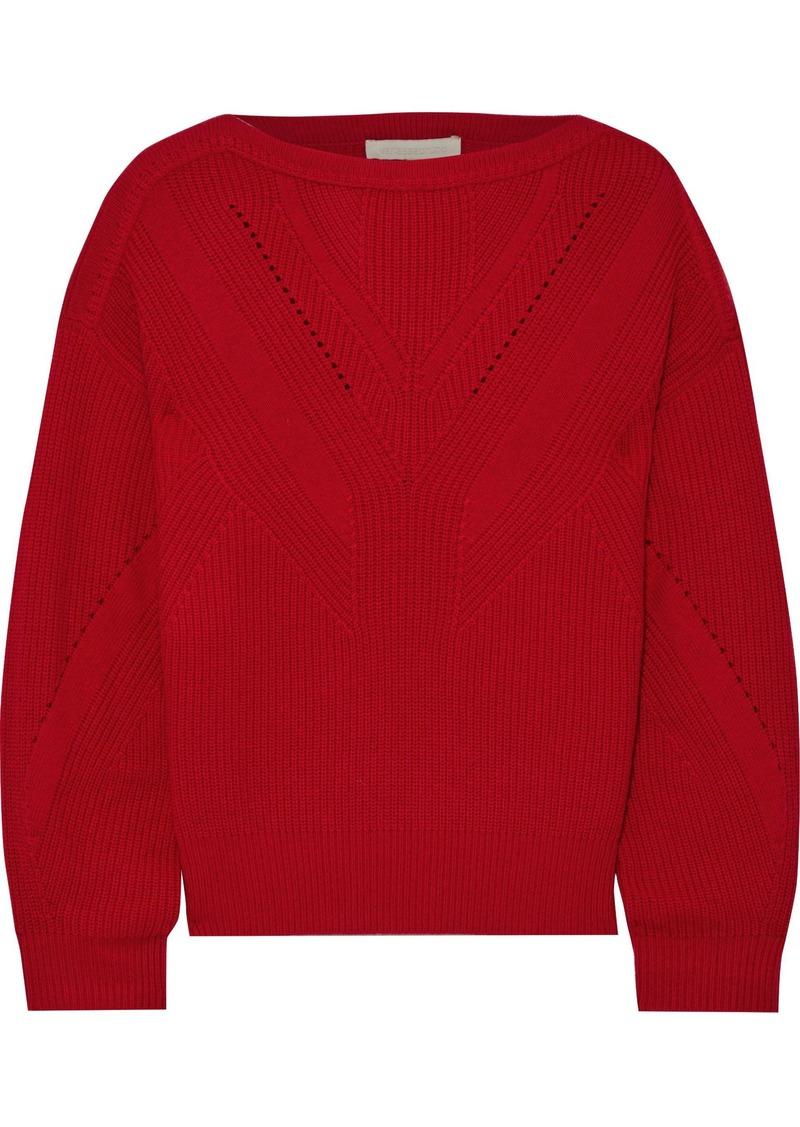 Vanessa Bruno Woman Ribbed Wool And Cashmere-blend Sweater Crimson