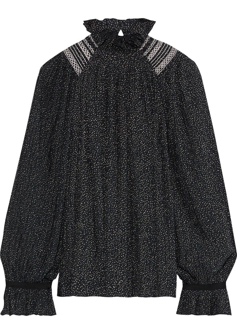 Vanessa Bruno Woman Ruffle-trimmed Pleated Polka-dot Crepe Blouse Black