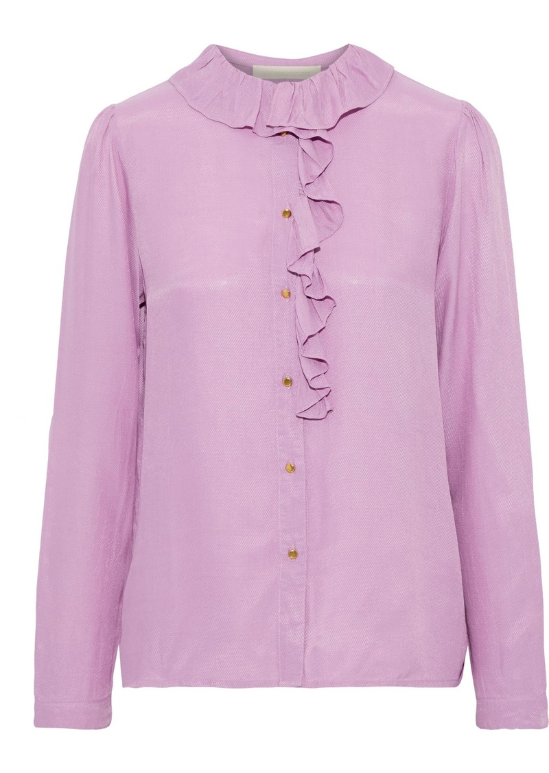 Vanessa Bruno Woman Ruffle-trimmed Twill Shirt Lavender
