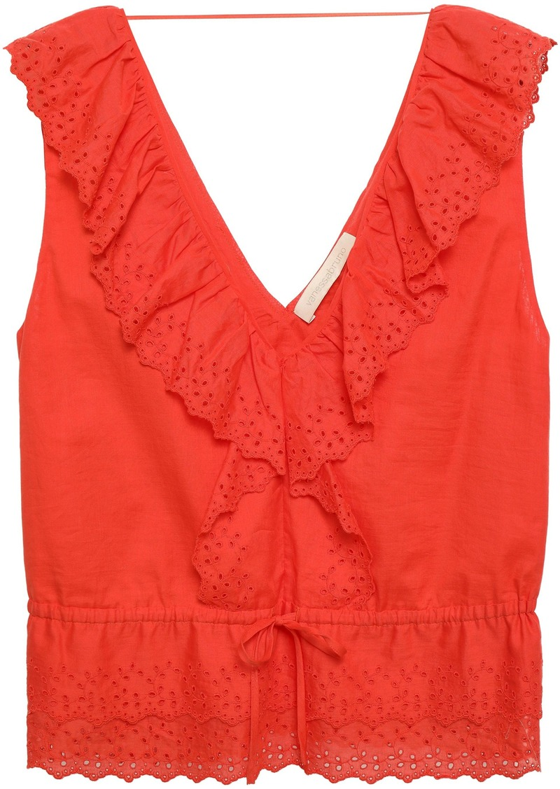 Vanessa Bruno Woman Giwete Broderie Anglaise Cotton Top Coral
