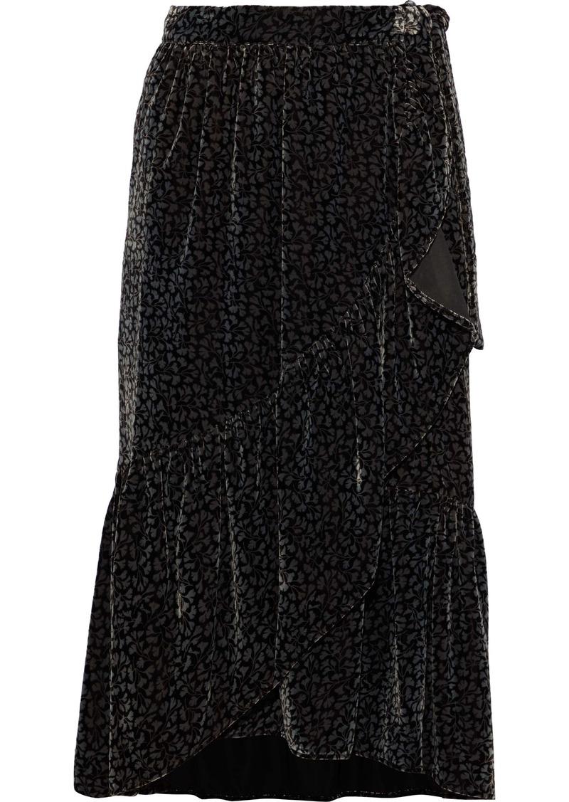 Vanessa Bruno Woman Ruffled Printed Velvet Wrap Skirt Black
