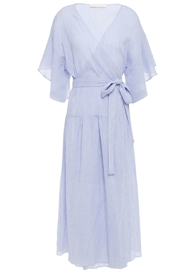Vanessa Bruno Woman Ruffled Striped Cotton Midi Wrap Dress Light Blue