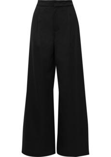 Vanessa Bruno Woman Satin-trimmed Wool-twill Wide-leg Pants Black