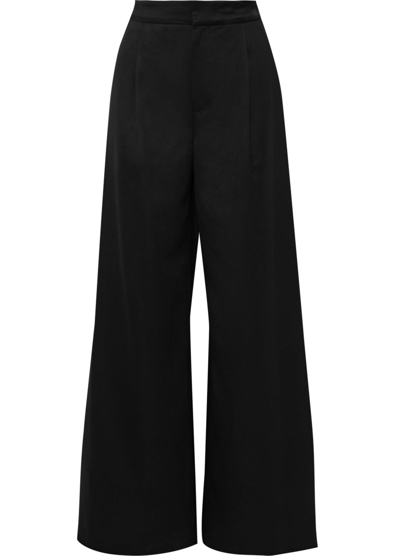 Vanessa Bruno Woman Satin-trimmed Wool-twill Wide-leg Pants Black