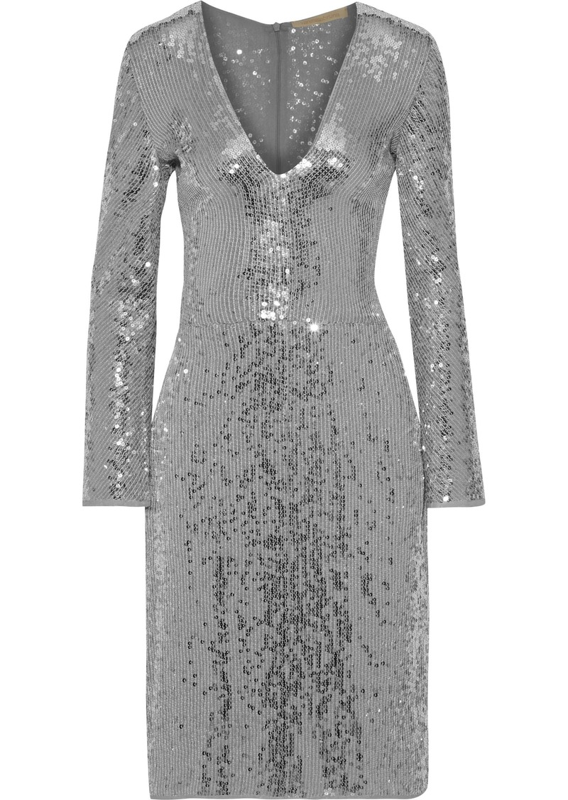Vanessa Bruno Woman Sequined Chiffon Dress Silver