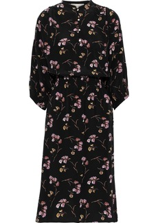 Vanessa Bruno Woman Shirred Floral-print Silk Dress Black