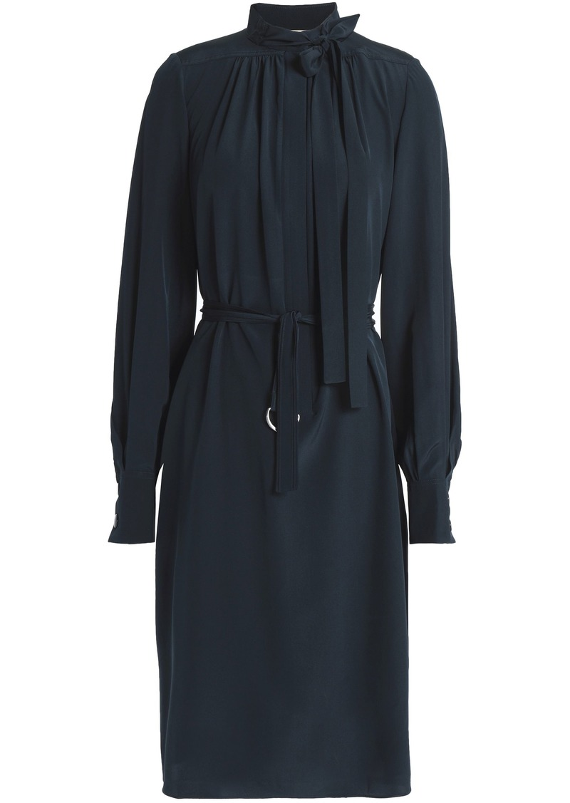 Vanessa Bruno Woman Tie-front Belted Silk Dress Navy