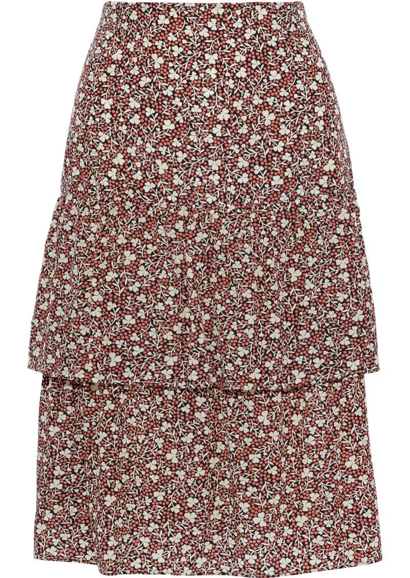 Vanessa Bruno Woman Tiered Floral-print Crepe De Chine Skirt Orange