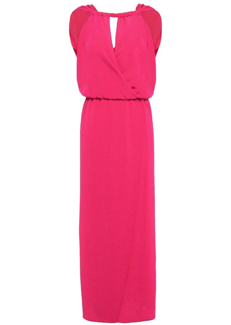 Vanessa Bruno Woman Wrap-effect Cutout Hammered-crepe Maxi Dress Fuchsia