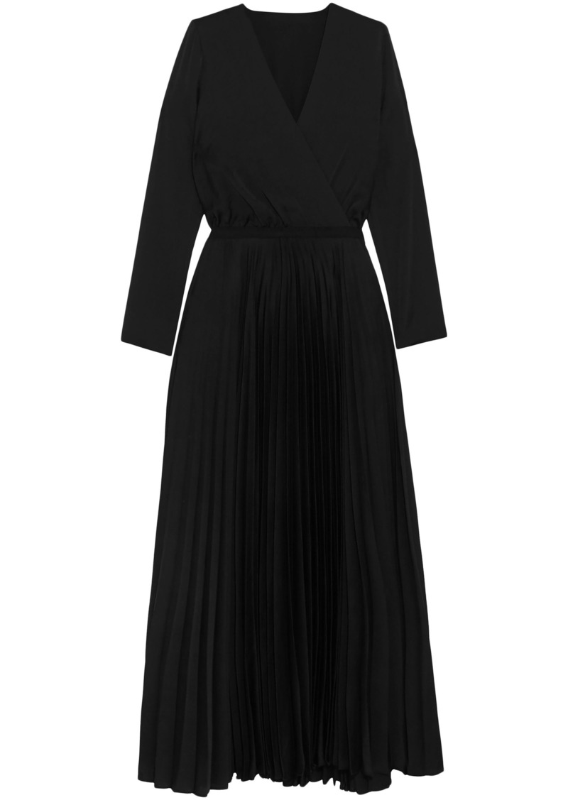 Vanessa Bruno Woman Wrap-effect Pleated Cady Maxi Dress Black