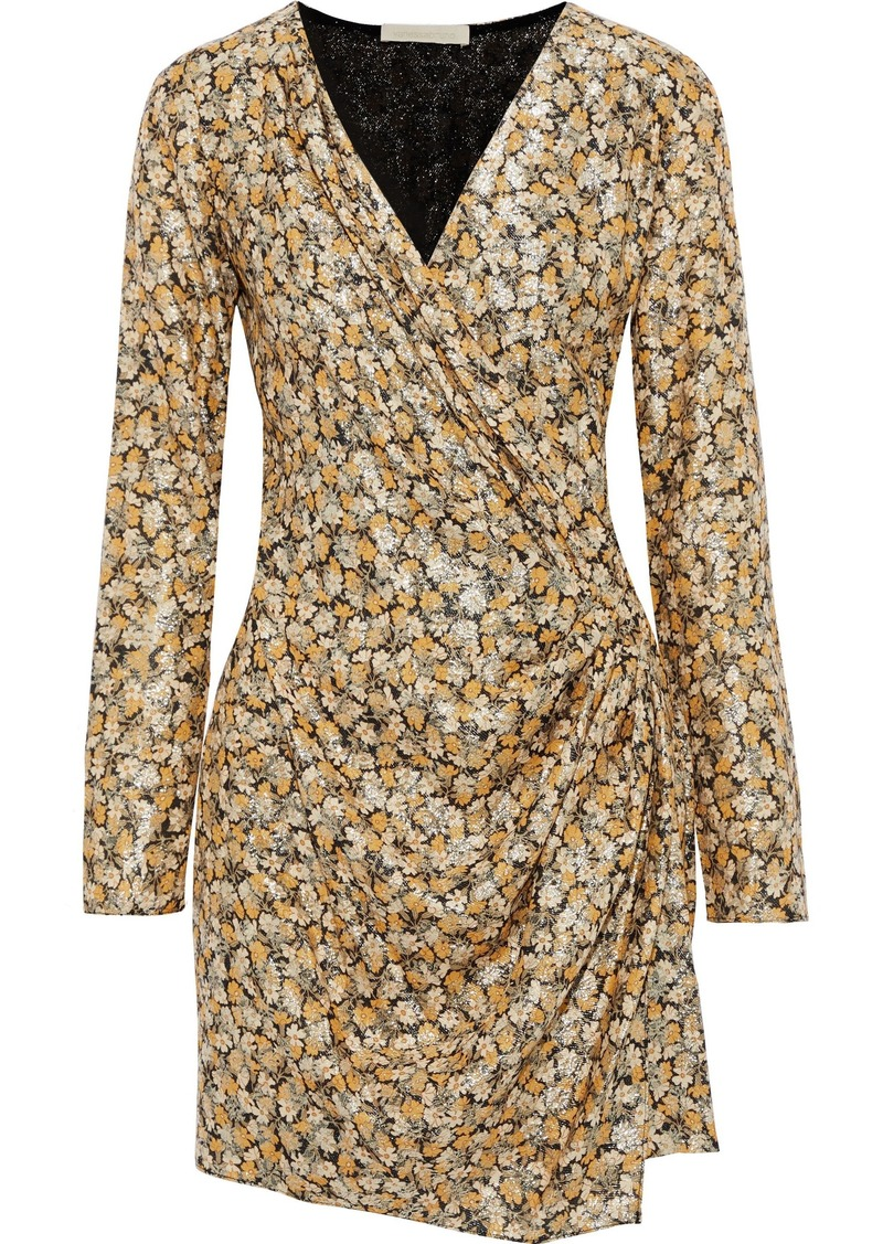 Vanessa Bruno Woman Wrap-effect Gathered Brocade Mini Dress Saffron