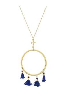Vanessa Mooney The Demi Tassel & Cross Hoop Necklace
