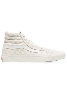 Vans beige SK8-hi lx checkerboard leather and canvas high-top sneakers
