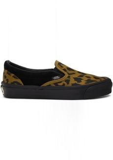 Vans Black & Brown Leopard OG Classic Slip-On Sneakers