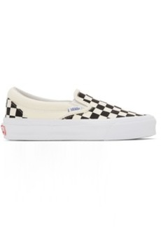 Vans Black & Off-White Checkerboard OG Classic Slip-On LX Sneakers