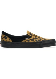 Vans black and yellow vault UA OG leopard print slip on sneakers