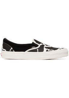 Vans black UA OG cow print cotton slip on sneakers