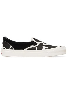 Vans black UA OG cow print cotton slip on sneakers