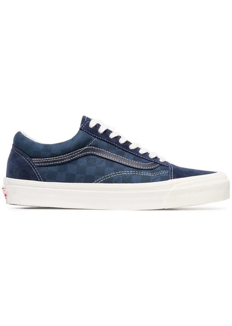23ddf903a30324 Vans blue OG Old Skool suede check cotton sneakers