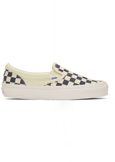 Vans Navy & Off-White Checkerboard Classic Slip-On Sneakers
