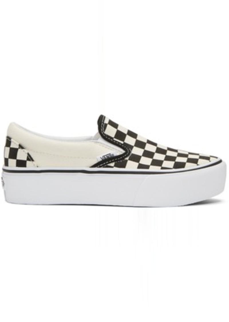 b3c17fd8706 SALE! Vans Off-White   Black Checkerboard Classic Slip-On Platform ...