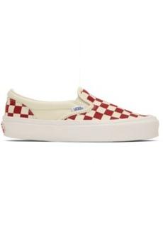 Vans Red OG Checkerboard Classic Slip-On Sneakers