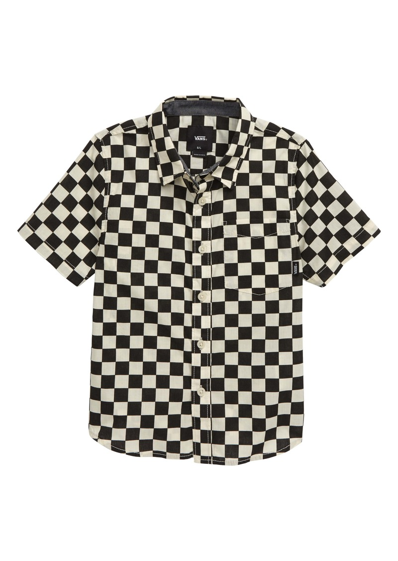 Vans Cypress Checker Short Sleeve Button-Up Shirt (Toddler & Little Boy)