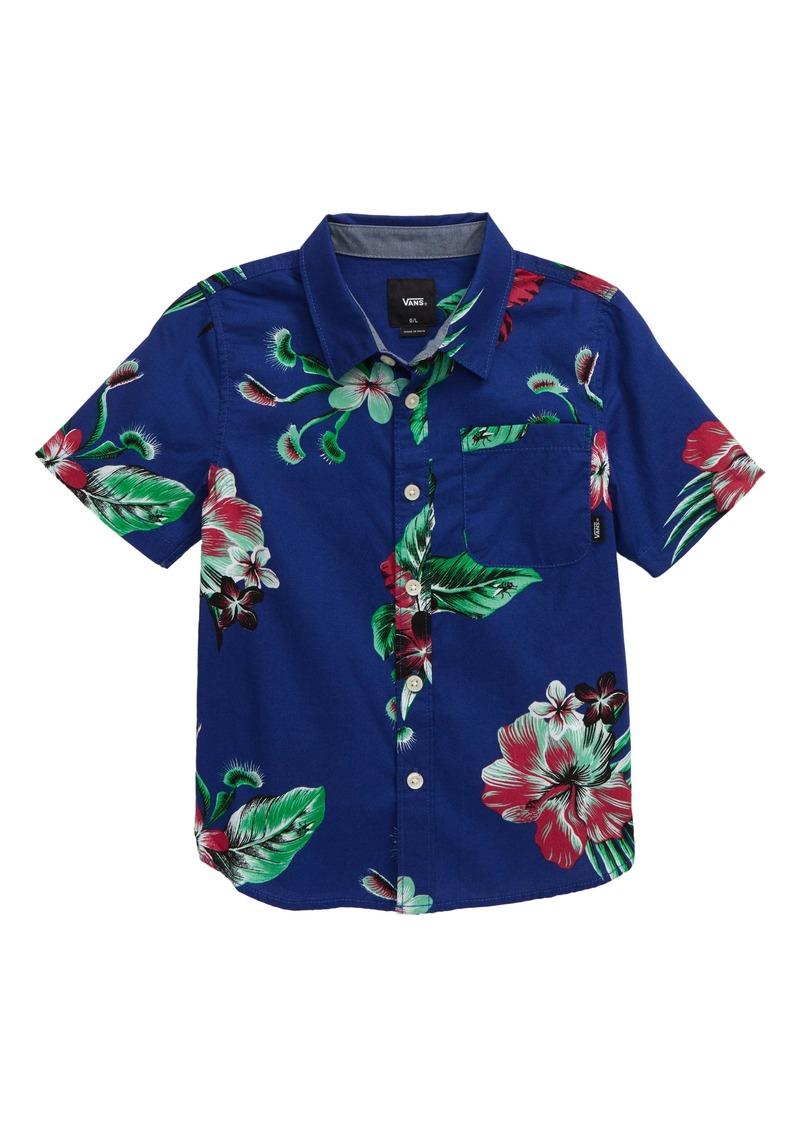 Vans Trap Floral Short Sleeve Button-Up Shirt (Toddler & Little Boy)