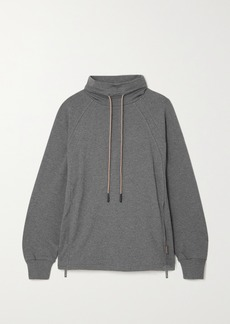 Varley Atlas Zip-detailed Melange Cotton-blend Jersey Sweatshirt