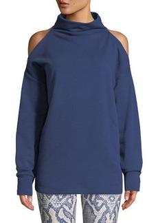 Varley Keystone Cold-Shoulder Funnel-Neck Sweatshirt