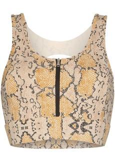 Varley zip-up snake-print sports bra