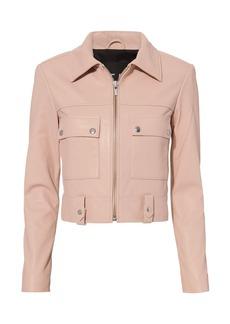 Veda Cropped Boxy Leather Jacket