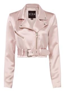 Veda Sax Satin Cropped Moto Jacket