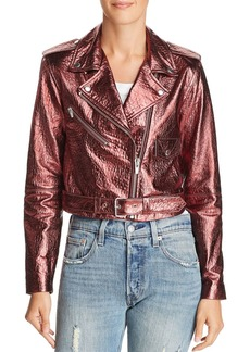 Veda Baby Jane Metallic Leather Moto Jacket