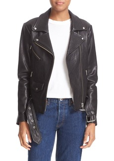 Veda 'Jayne' Lambskin Leather Moto Jacket